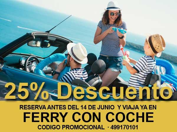 Tu coche con un 25 % de descuento en ferry Denia Formentera en Verano 2020